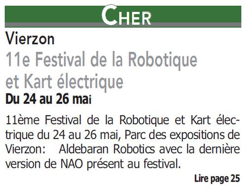 le petit solognot vierzon 11e festival de la robotique et du kart lectrique. Black Bedroom Furniture Sets. Home Design Ideas